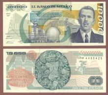 1990 10,000 Pesos Mexican paper money