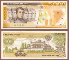 1985 5000 Pesos Mexican paper money