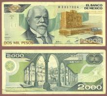 1989 2000 Pesos mexican paper money