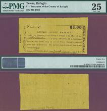 $1.00 1863 Refugio County Warrant Texas Civil War PMG Very Fine 25
