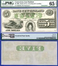 Connecticut - $5.00 US large size obsolete paper money