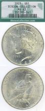 "1923 $ MS-63 ""Binion Hoard"" US silver Peace dollar"