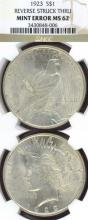 1923 $ Mint Error US Peace silver dollar