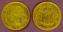 1863 2 Peso Philippines gold coin