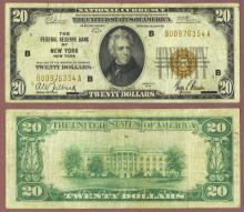 1929 $20 FR-1870-B New York Small size federal reserve bank note