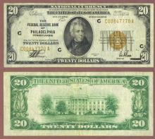 1929 $20 FR-1870-C Philadelphia Small Federal Reserve Bank note