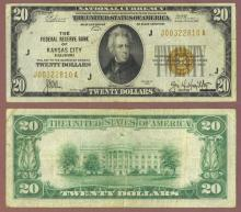 1929 $20 FR-1870-J Kansas City Small Federal Reserve Bank Note
