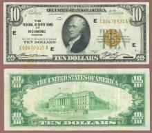 1929 $10 FR-1860-E Richmond Small Federal Reserve Bank Note