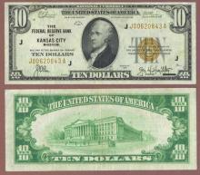 1929 $10 FR-1860-J Kansas City Small Federal Reserve Bank Note