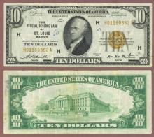 1929 $10 FR-1860-H St. Louis Small federal Reserve Bank Note