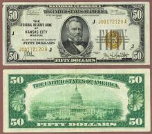 1929 $50 FR-1880-J Kansas City Small federal reserve bank note