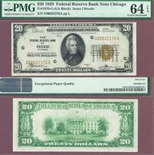 1929 $20 FR-1870-G Chicago US small size federal reserve bank note