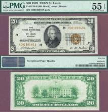 1929 $20 FR-1870-H St. Louis Small Federal Reserve Bank Note PMG Choice About Uncirculated 55 PPQ