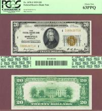 1929 $20 FR-1870-I Minneapolis Small Federal Reserve Bank Note PCGS Choice New 63 PPQ
