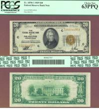 1929 $20 FR-1870-C Philadelphia US small size federal reserve note