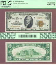1929 $10.00 FR-1860-A Boston US small size federal reserve bank note