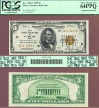 1929 $5.00 FR-1850-D Cleveland US small size federal reserve bank note