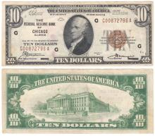1929 $10 FR-1860-G Chicago US small size federal reserve bank note