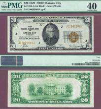 1929 $20 FR-1870-J Kansas City US small size federal reserve bank note