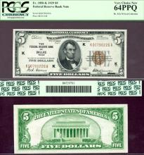 1929 $5 FR-1850-K Dallas US small size federal reserve bank note PCGS 64 PPQ