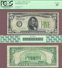 1928-C $5 FR-1953-F Light Green Seal Federal Reserve Note