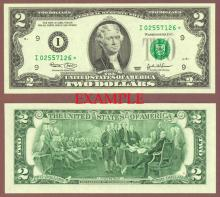 2003 $2 *STAR* US small size federal reserve note