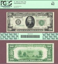 1928-A - $20.00 FR-2051-K Numeral Note US small size federal reserve note PCGS New 62