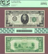 1928 - $20.00 FR-2050-I Numeral Note US small size federal reserve note PCGS Extremely Fine 45 PPQ