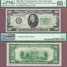 "1934 $20 FR-2054-D Dark Green Seal ""Mule"" PMG GEM Uncirculated 65 EPQ"