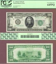 1928 - $20.00 FR-2050-H Numeral Note small size US federal reserve note PCGS 64 PPQ