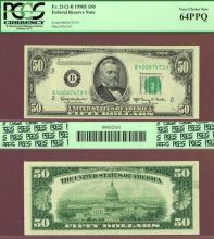1950-E $50 FR-2112-B US small size federal reserve note green seal