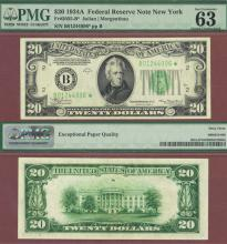 "1934-A $20 ""STAR"" FR-2055-B* PMG 63"