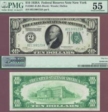 1928-A - $10.00 FR-2001-B Numeral Note US small size federal reserve note PMG AU 55