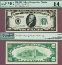 1928 - $10.00 FR-2000-F US small size federal reserve note PMG Choice Uncirculated 64 EPQ