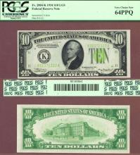 1934 $10 FR-2004-K LGS US small size federal reserve note PCGS 64 PPQ
