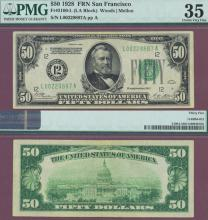 1928 - $50.00 FR-2100-L US small size federal reserve note PMG Choice Very Fine 35