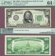1928-A - $50.00 FR-2101-H US small size federal reserve note PMG Choice Uncirculated 64 EPQ
