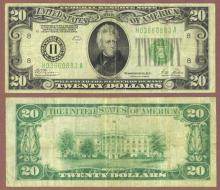 1928 B - $20.00 FR-2052-H US small size federal reserve note