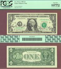 1981 - $1 Dual Courtesy Autographed FR. 1911-L US small size federal reserve note