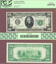1928 - $20.00 FR-2050-J Numeral Note US small size federal reserve note PCGS GEM New 65PPQ