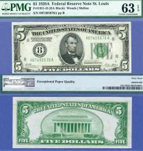 1928-A $5 FR-1951-H US small size federal reserve note PMG Choice Uncirculated 63 EPQ