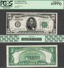 1928 $5.00 FR-1950-K US small size federal reserve note PCGS Choice New 63 PPQ