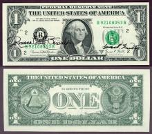 1969-D - $1 FR-1907-B Dual Courtesy Autographed US small size federal reserve note