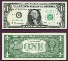 "1963 - $1 FR-1900* ""STAR"" US small size federal reserve note green seal"
