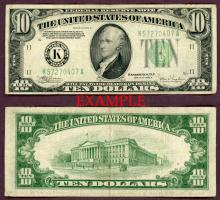 1934-C $10 US small size federal reserve note green seal