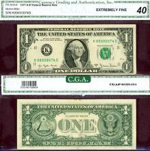 1977-A $1 FR-1910-K LOW SERIAL # K00000074D CGA EF 40