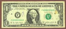 "1977 - $1 FR-1909 ""RADAR"" serial number US small size federal reserve note"