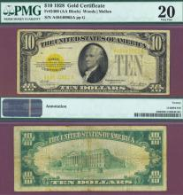 1928 - $10 FR-2400 PMG Very Fine 20 US Gold Certificate