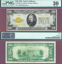 1928 - $20 FR-2402 PMG Very Fine 30 US Gold Certificate