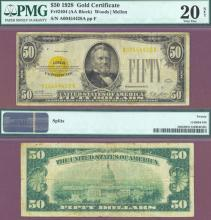 1928 - $50 FR-2404 US $50 Gold Certificate. PMG Very Fine 20